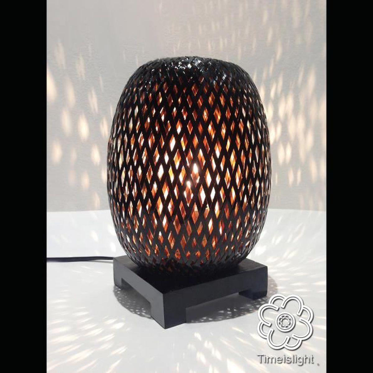 Lampe De Chevet Bambou Tresse En Double Peau Exterieur Laquee