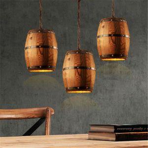 LAMPADAIRE Lustre en Forme de Tonneau de Vin en Bois Suspendu