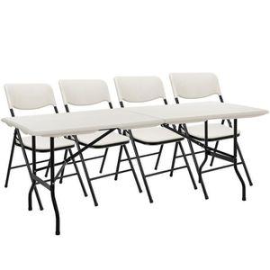 Casa.pro Camping - ensemble table et chaises (4 chaises pliantes + ...
