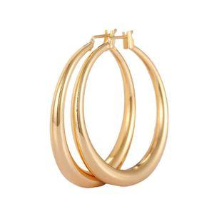 Boucles d oreilles créole Doré or jaune 750 00 18K carats Bijou fantaisie  haut de gamme Femme Jaune Kala 92a9b449b8e9