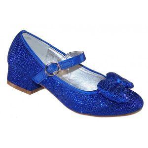 cc950e0d4ebc8 Chaussures babies à talon bas bleues à paillettes pour mariages et autres  occasions spéciales