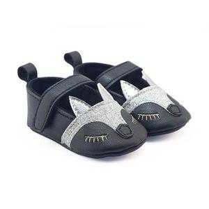 Frankmall®Bébé filles Fox pattern chaussures de berceau semelles douces anti-dérapant espadrilles NOIR#WQQ0926332 yEXula66r