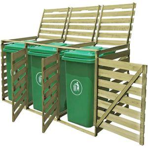 CACHE CONTENEUR Cache-poubelle à roulettes triple imprégné en bois