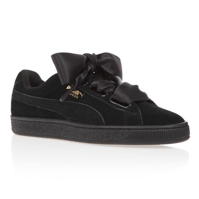 chaussure fille puma noir a lacet