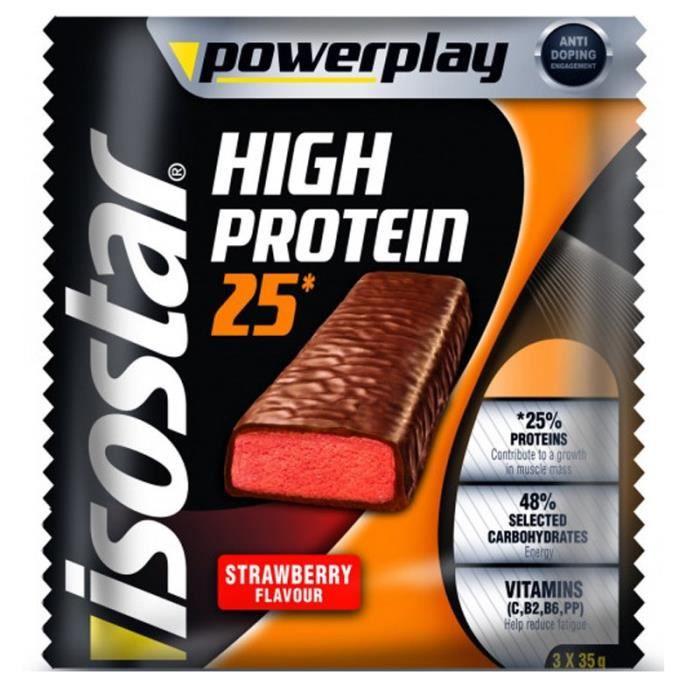 ISOSTAR Barres de High Protein 25% Strawberries - 3x 35 g