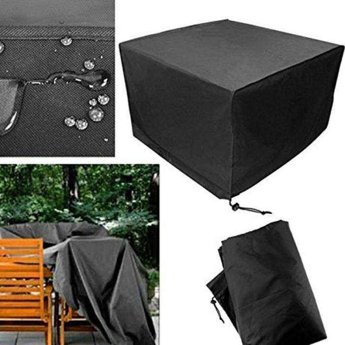 Housse de meuble de jardin imperméable pliage extérieur couverture bâche de  table chaise 213x132x74cm