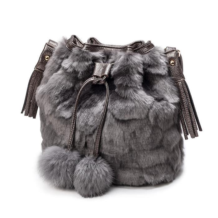 besace Femmes Sacs automne et lapin dhiver de fourrure Bucket dames de mode fille motif léopard portable Sacs-887