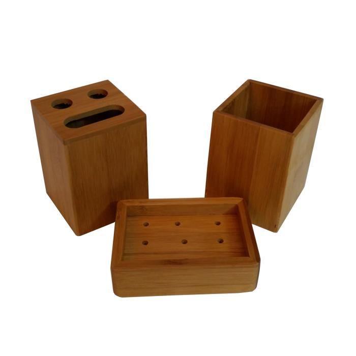 Set 3 accessoires salle de bain en Bambou - Achat / Vente porte ...