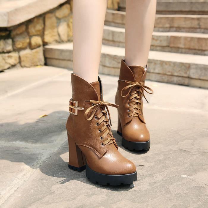 martin boots-Femmes Pure Couleur Thick Lacet Ta...