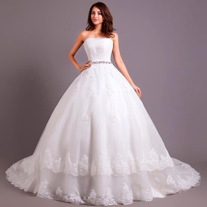 Robe De Mariee Mariage Longue Traine Bustier Princesse Dos Nu Basque Lace Strass Moitif Appliques Haute Couture El