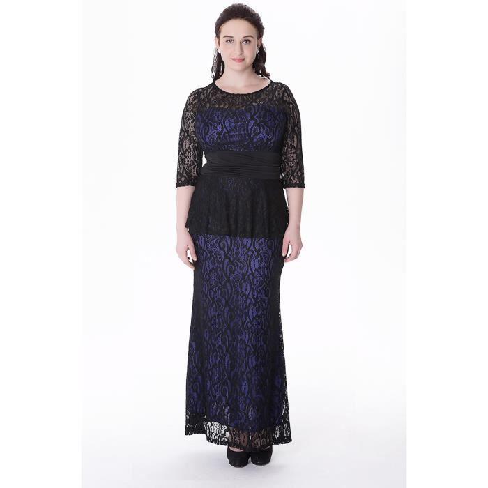 site officiel caractéristiques exceptionnelles achat original Les femmes du soir en dentelle Robes longues Taille XL-6XL Automne Hiver  Nouvelle-Dame moitié O-Neck Parti manches Maxi Dress