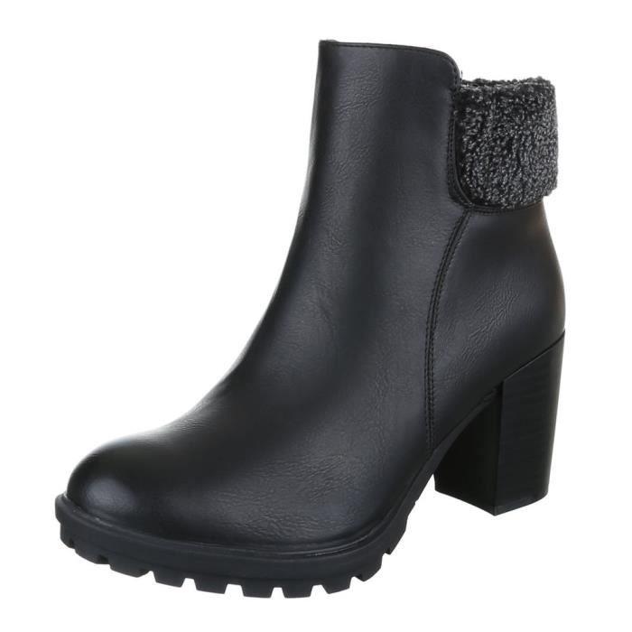 femme bottine chaussure arbre court Fermeture éclair botte noir