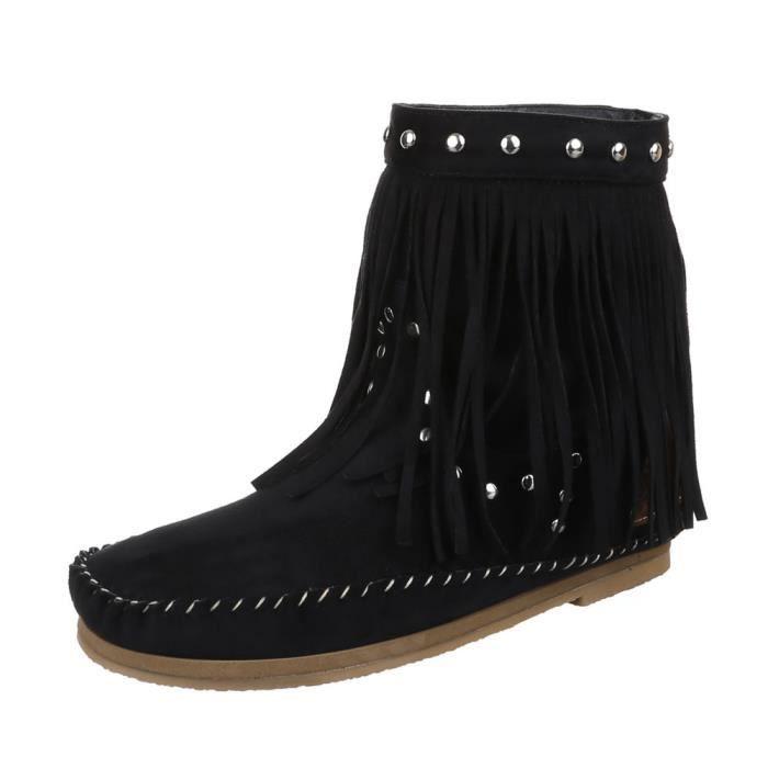 Chaussures Bleu Rivet S'effranger noir Noir Bottes Femme 36 Avec Et Bottillon 4qxCp