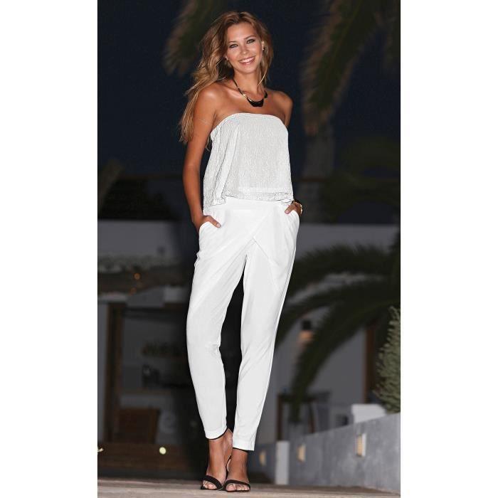 Habillé Pantalon Vente Coupe Femme Blanc Achat Croisée Y76ymfIbvg