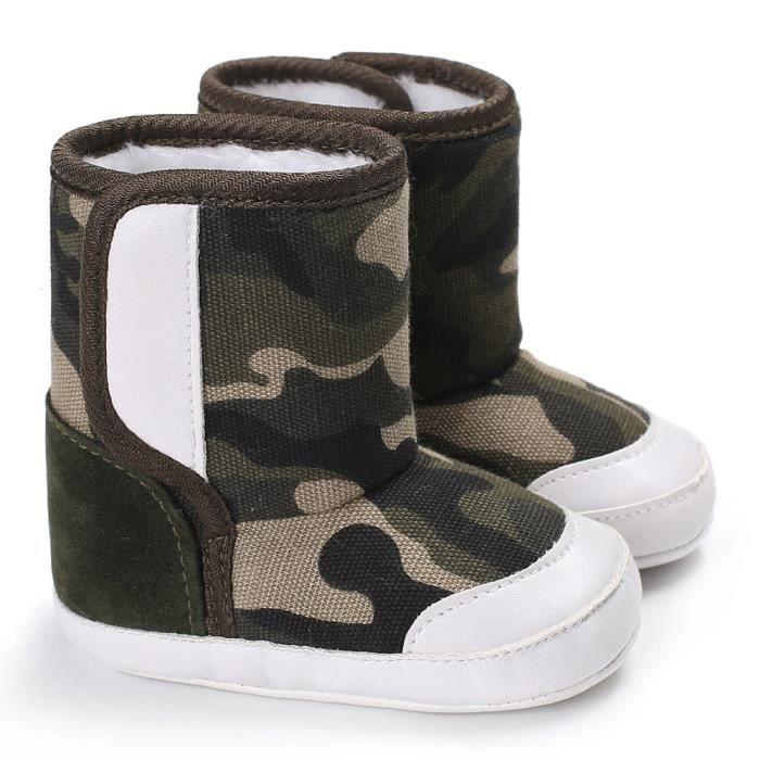 Frankmall®Camouflage bébé semelle molle bottes de neige Soft berceau chaussures tout-petits KAKI#WQQ0926093