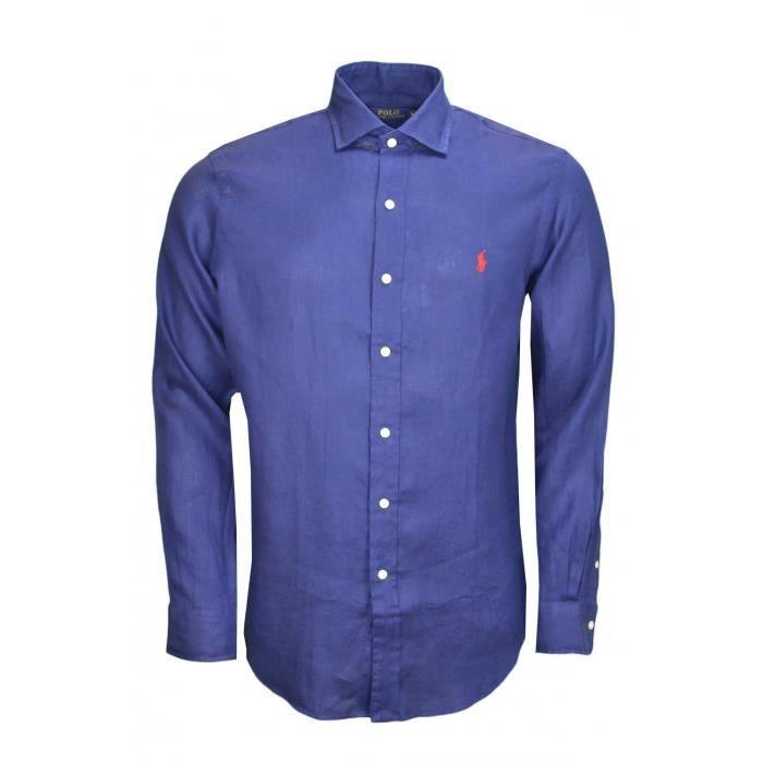 Chemise en lin Ralph Lauren bleu marine pour homme Taille: S