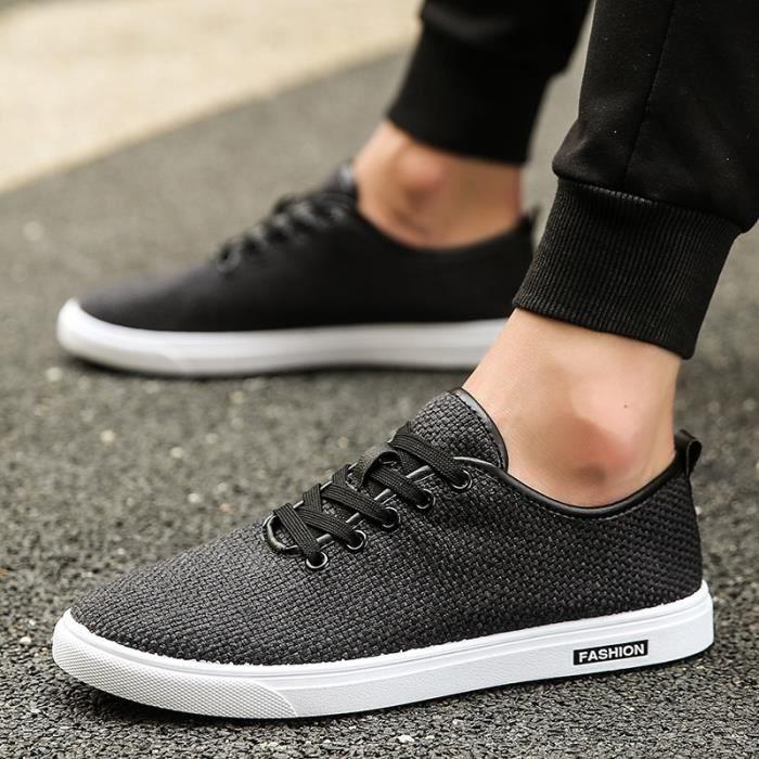 Mode d'été Hommes Chaussures de toile Respirant Chaussures Hommes Casual Mocassins Chaussures confortables Ultraléger Lazy 58wPU7Bg70