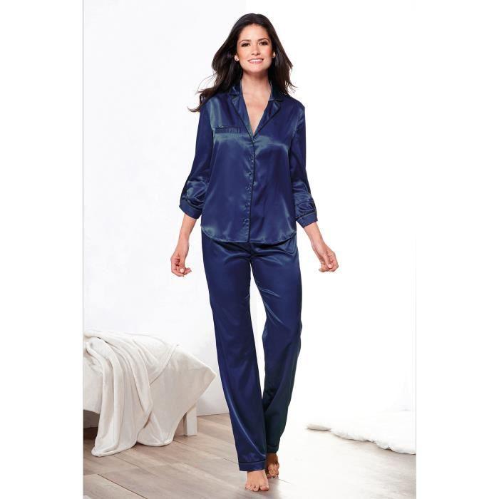 Pyjama en satin blouse et pantalon femme Bleu nuit - Achat   Vente ... b89c0045455