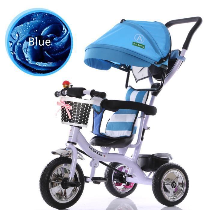 NEUFU 4 en 1 Tricycle Vélo 3 Roues Poussette Evolutif Multifonctions Pour  Enfants Bleu 539639b445d