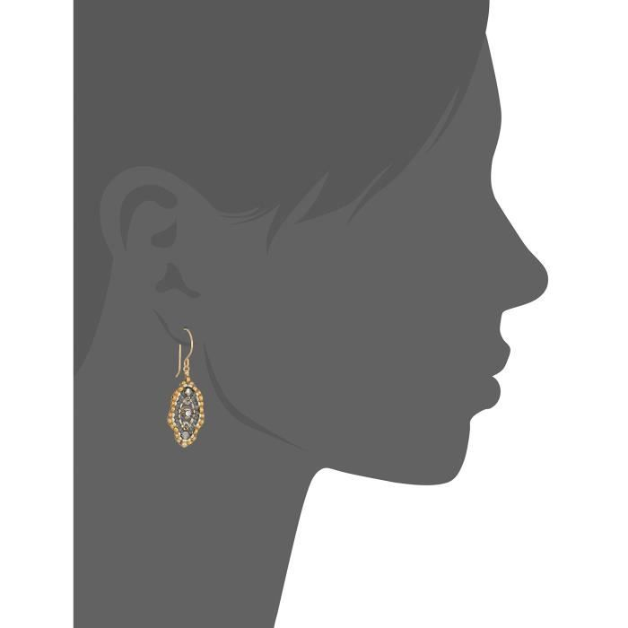 Miguel Ases Womens Small Swarovski Center Oval Ruffle Contrast Drop Earrings UJF2T