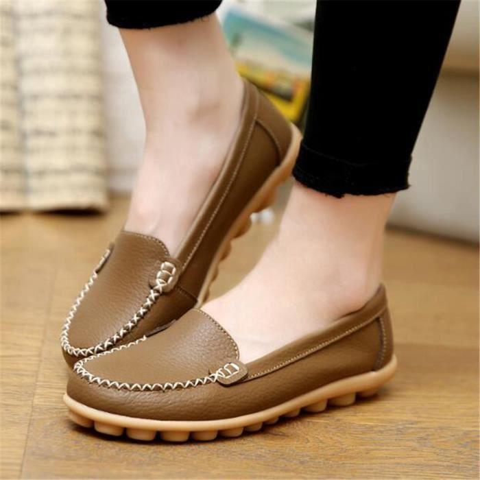 Chaussures Hommes Cuir Printemps Ete Haute Qualité Plat Chaussures WYS-XZ080Rouge41 lveVeBhcjx
