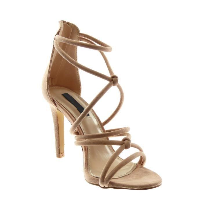 Angkorly - Chaussure Mode Sandale Escarpin stiletto femme multi-bride Talon haut aiguille 10 CM - Noir - L6117 T 38 JfeVrfl