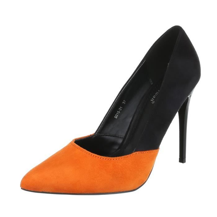 Femme chaussures escarpin High Heels noir Orange 40