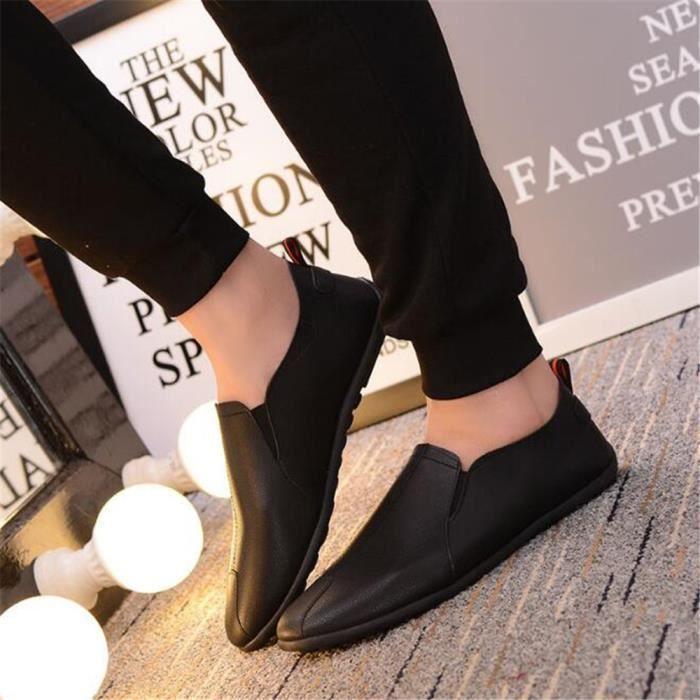Mocassins Hommes Cuir Printemps Ete Plat Chaussures XFP-XZ079Noir44
