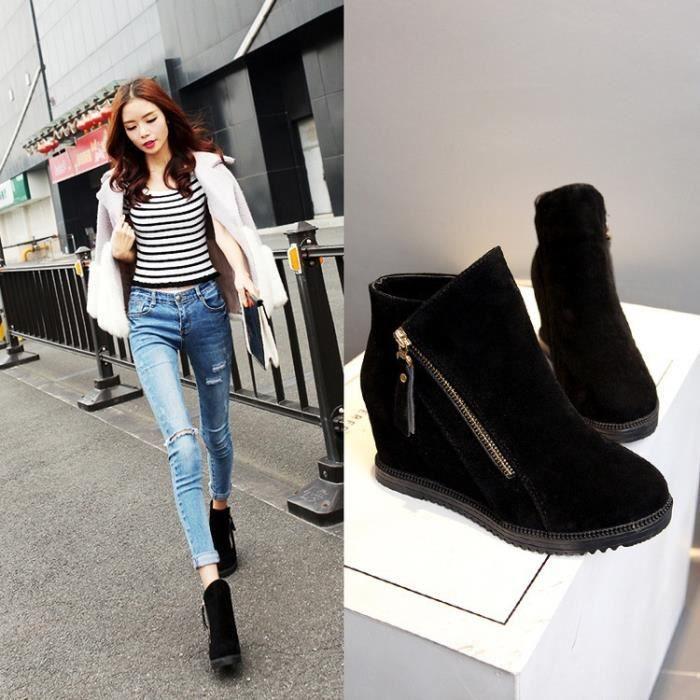 les femmes en dentelle solide de haute qualité chaussures quand les bottes plates 2017 nouvelles automne et hiver pour Chaussures