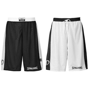 SHORT DE BASKET-BALL SPALDING Essential Short réversible - Noir/Blanc