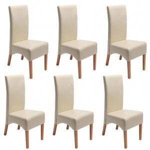 Lot de 6 chaises de salle a manger beige - Achat / Vente pas cher