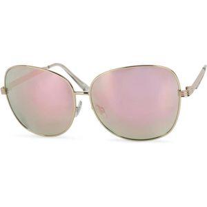 16672111539e31 lunettes de soleil avec verres ovales en polycarbonate et intégrale en métal,  femme 09020070