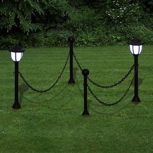 LAMPE DE JARDIN  Barrière à chaîne 2 Lampes solaires et 2 poteaux P