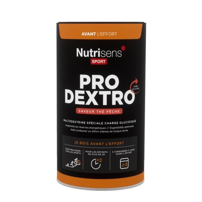 NUTRISENS Complément alimentaire - Pot de 450g - 7 dosettes maltodextrine spéciale charge glucidique ProDextro - Thé pêche