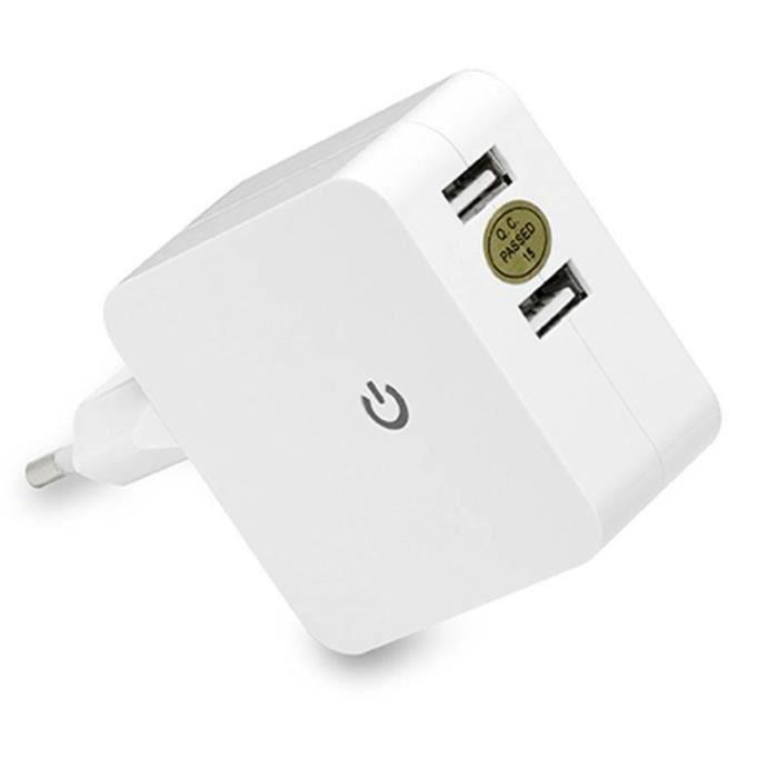 D2 Chargeur secteur USB 2 ports - Avec indicateur de charge - Blanc
