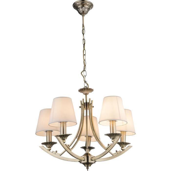 Lustre couleur bronze - Tissu blanc - A:570 - H:950 - Ampoule non incluse 5xE14 60W 230VLUSTRE - SUSPENSION