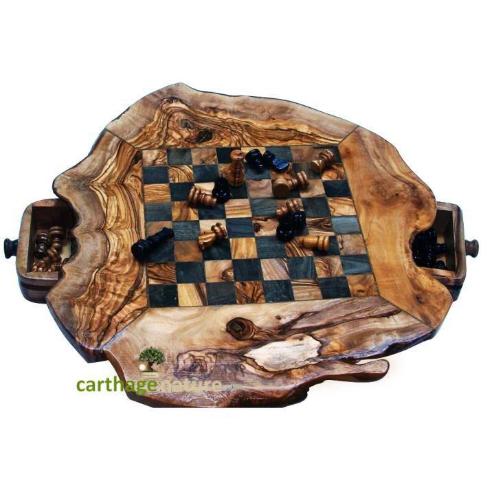 PION - FIGURINE DE JEU Cadeau Noel pas cher, Jeu d'échecs en bois d'olivi
