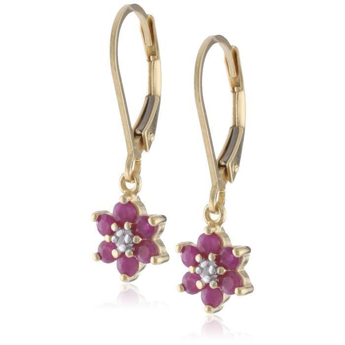 Jewel Panda Boucles doreilles en or jaune 18 carats plaqué en argent sterling Ruby Flower Dangle