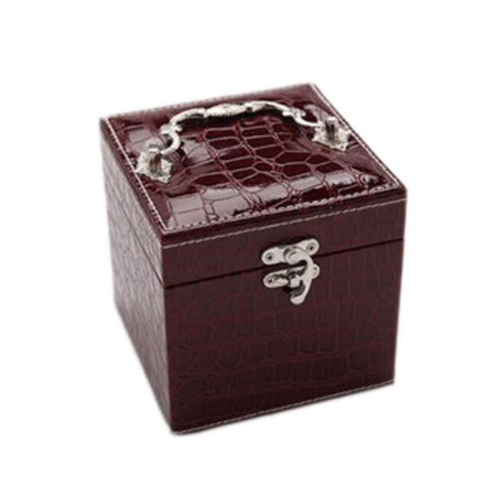 Bijoux place élégante boîte de rangement rouge foncé 12.5x12.5x12.5
