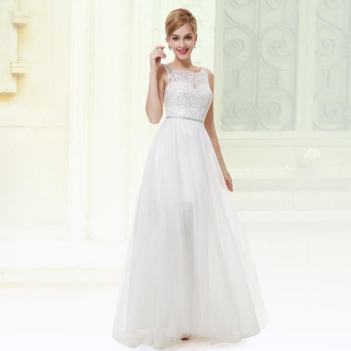 28412ab5f378 Robe Femme de Soirée Blanc Dentelle pour Marriage Blanc - Achat ...