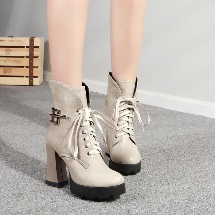 martin boots-Femmes Pure Couleur Thick Lacet Talon D coration M tal Court Bottes