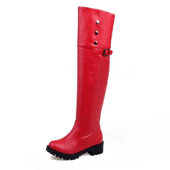 Bottes hautes Femme, jambes épaisses bottes à t...