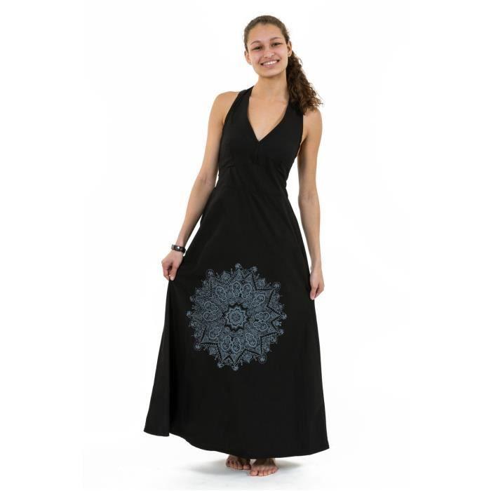 ce6801c2f303 Fantazia - Robe ethnique longue - Robe longue dos nu mandala print noir  gris Jeanne