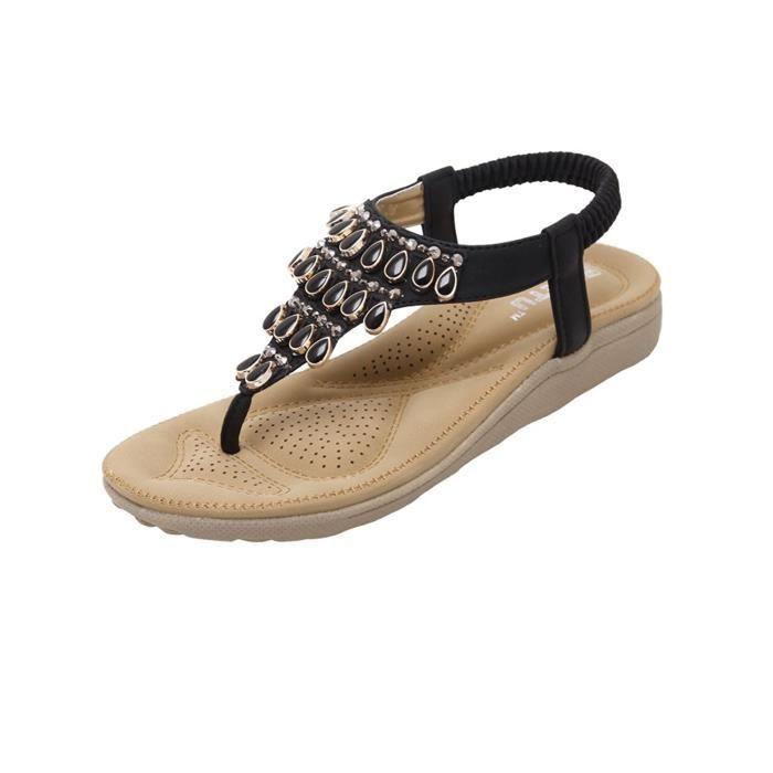 Fille Sandales Arrière Sandals Clip Toe Chaussure Minetom Tissé Femme Perles Plates Été Bohémien Élastique Thong OXZPkiu