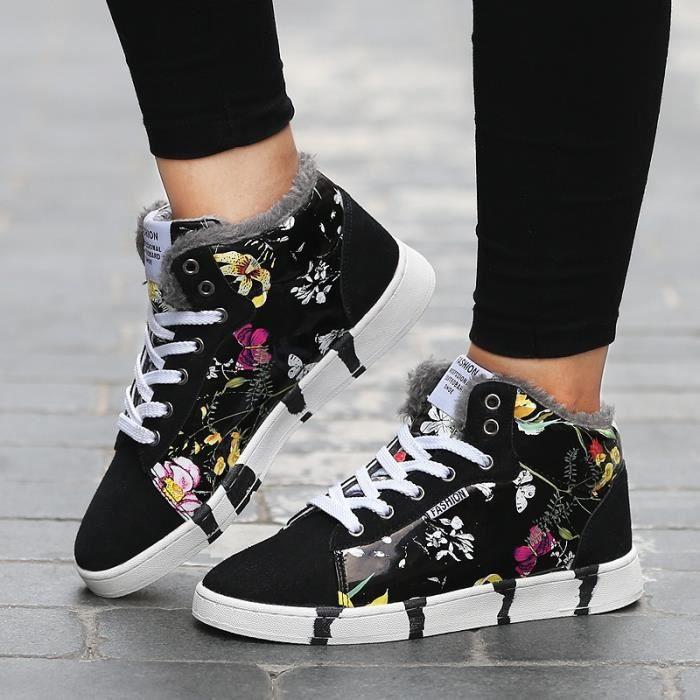 Bottes d'hiver pour hommes - femmes en peluche chaud en cuir suédé floral Bottines à lacets Lovers Bottes de neige Sneakers x303hmZDuK