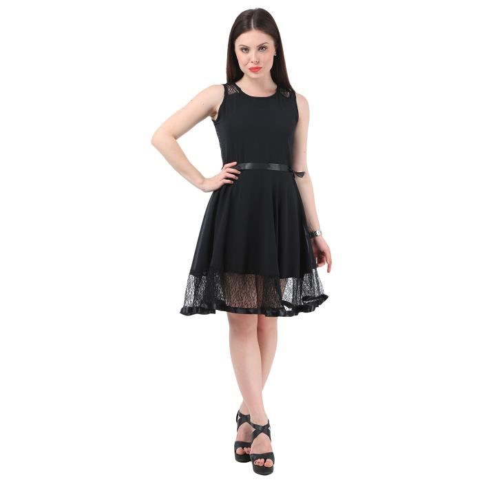 Womens Crepe U Neck Party A-line Regular Dress ZQKH2 Taille-40