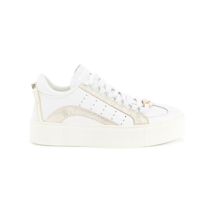 DSQUARED2 FEMME SNW000310650001M517 BLANC CUIR BASKETS