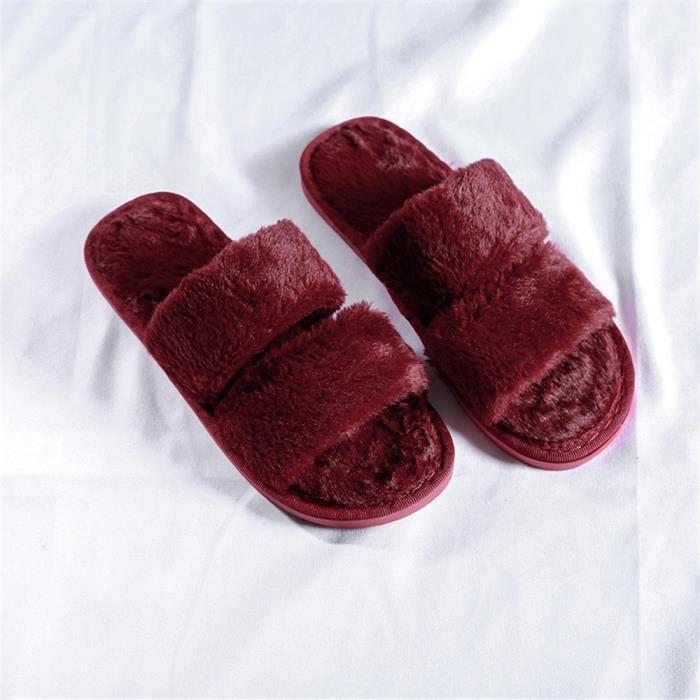 site réputé 0317f 6bfd8 36 41 rouge Chaussures De Femme Noir Hiver Chausson ...