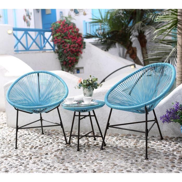 Salon de jardin bleu 2 fauteuils oeuf table basse - Achat / Vente ...