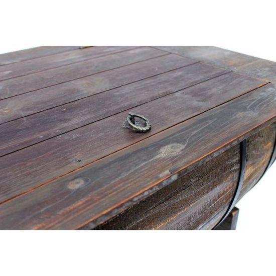 DanDiBo Table de salon Tonneau de vin 5084 Table en bois Etagère à ...
